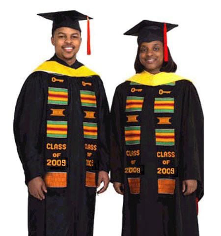 graduates wearing kente stoles